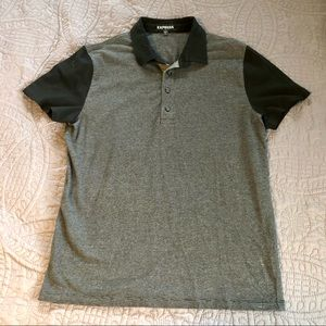 Express Polo   Black and Gray   Men's Size Large